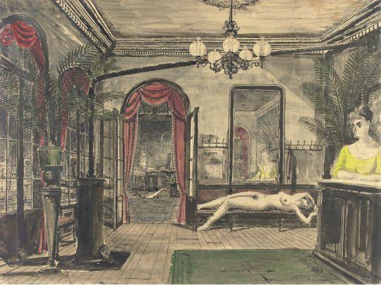 Paul delvaux the night train study 1947 illustration for Paul delvaux le miroir