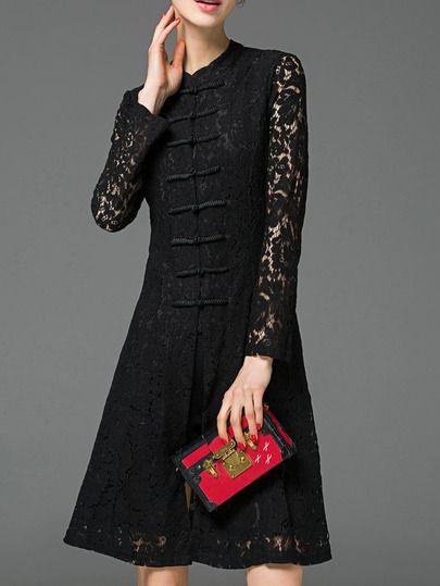 Black Collar Knee Length Split Lace Dress