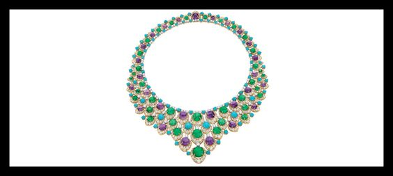 Bulgari's Vintage Collar With their The Art  of Bulgari: La Dolce Vita & Beyond, 1950-1990 exhibition beginning in San Francisco on September 21, the spotlight is on this gorgeous yellow gold collar necklace set with emeralds, amethysts, turquoise and diamonds, designed in 1965.