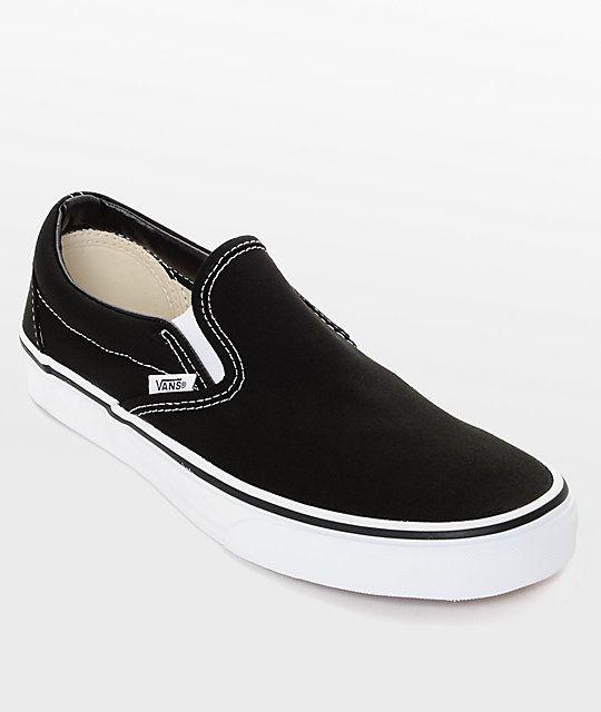 black slip on vans for women