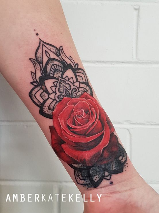 Realistic Red Rose And Mandala Wrist Coverup Tattoo By Tattoo Artist Amber Kate Kelly In Sydney Australia Tattoos Tattoo Artists Wrist Tattoo Cover Up