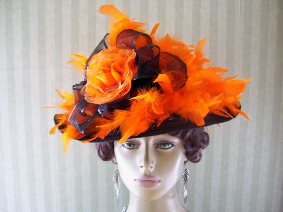 Halloween Hat Black and Orange Hat Wide Brim Hat Party by MsPurdy, $34.99