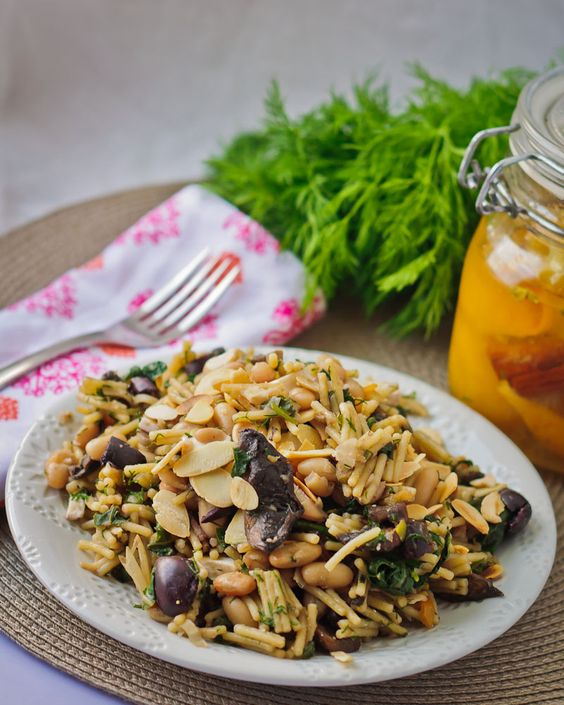 Orzo Pasta with Preserved Lemon, White Beans & Caramelised Mushroom - Vegan