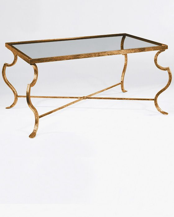 Rectangular Wrought Iron Coffee Table With Distressed Antiqued Gold Leaf  Finish And Glass Top | Argyle Interior Design | Pinterest | Iron Coffee  Table, ...