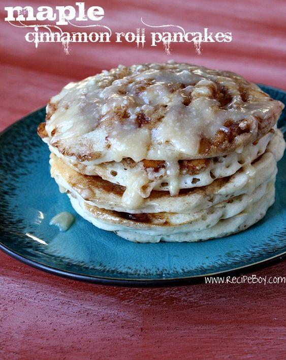 Maple Cinnamon Roll Pancakes!?! OMG!!! Yum!!!