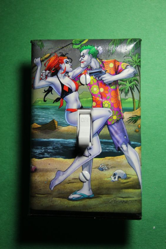 Joker harley quinn honeymoon light switch plate cover for Harley quinn bedroom designs