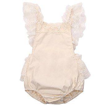 Amazon.com: Baby Girls Lovely Ruffle Lace Collar Bodysuit with Headband: Clothing