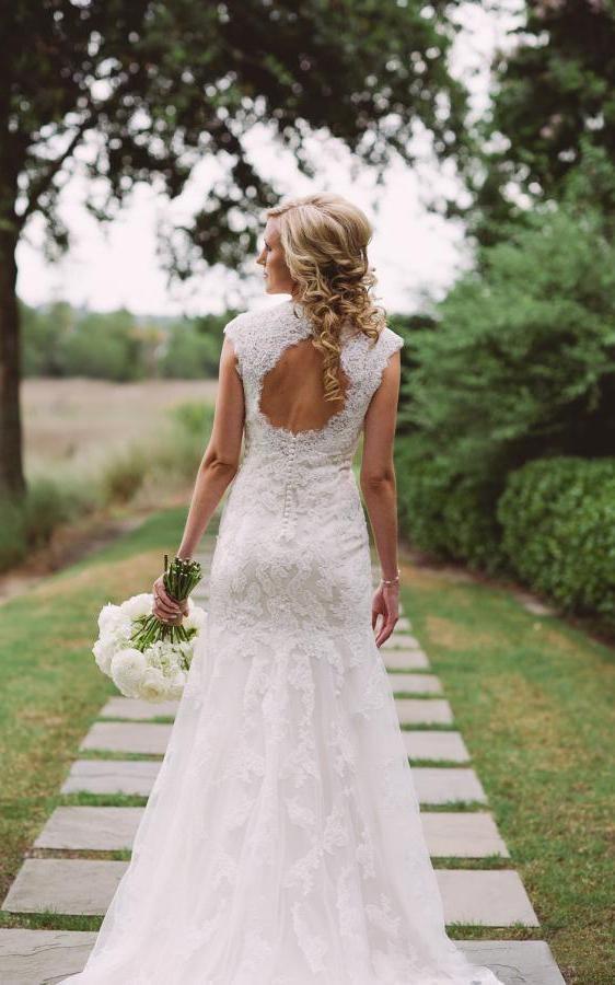 V Neck Cap Sleeve Keyhole Back A Line Lace Wedding Dress 713771 Lace Applique Wedding Dress Wedding Dresses Backless Lace Dress
