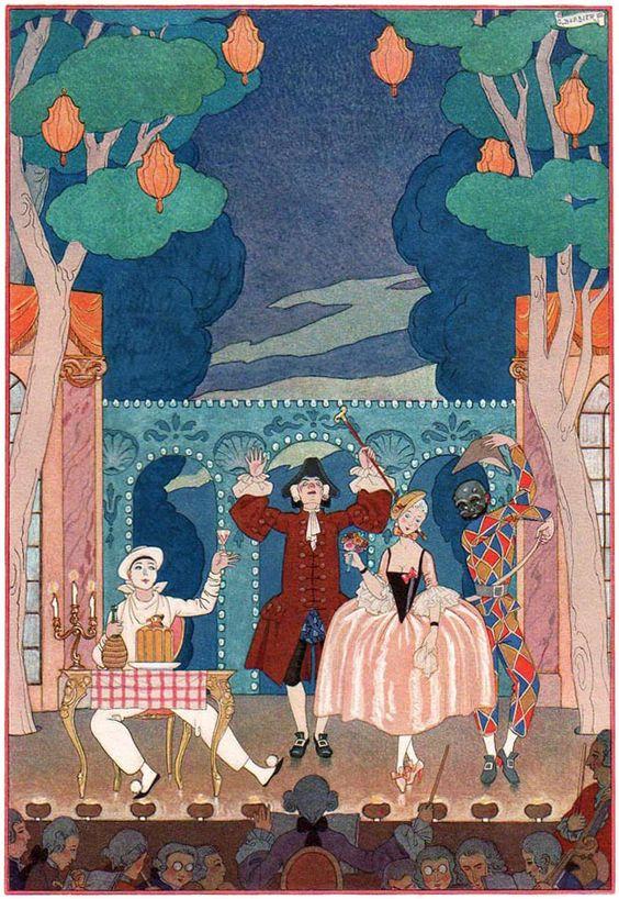 Georges Barbier (1882-1932) — 'Les Fêtes Galantes' by Paul Verlaine, 1928 (652×946):