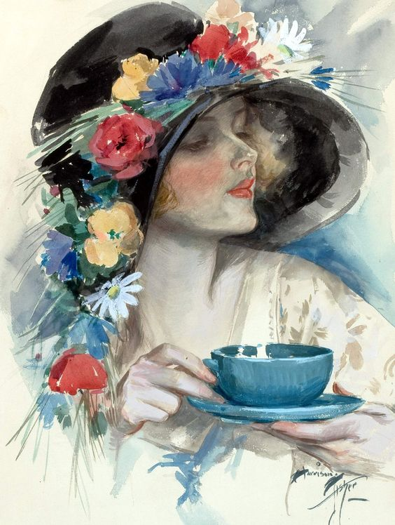 """Harrison Fisher, """"Afternoon Tea,"""" cover art for Cosmopolitan magazine (September) and Nash's (October), 1925..."""