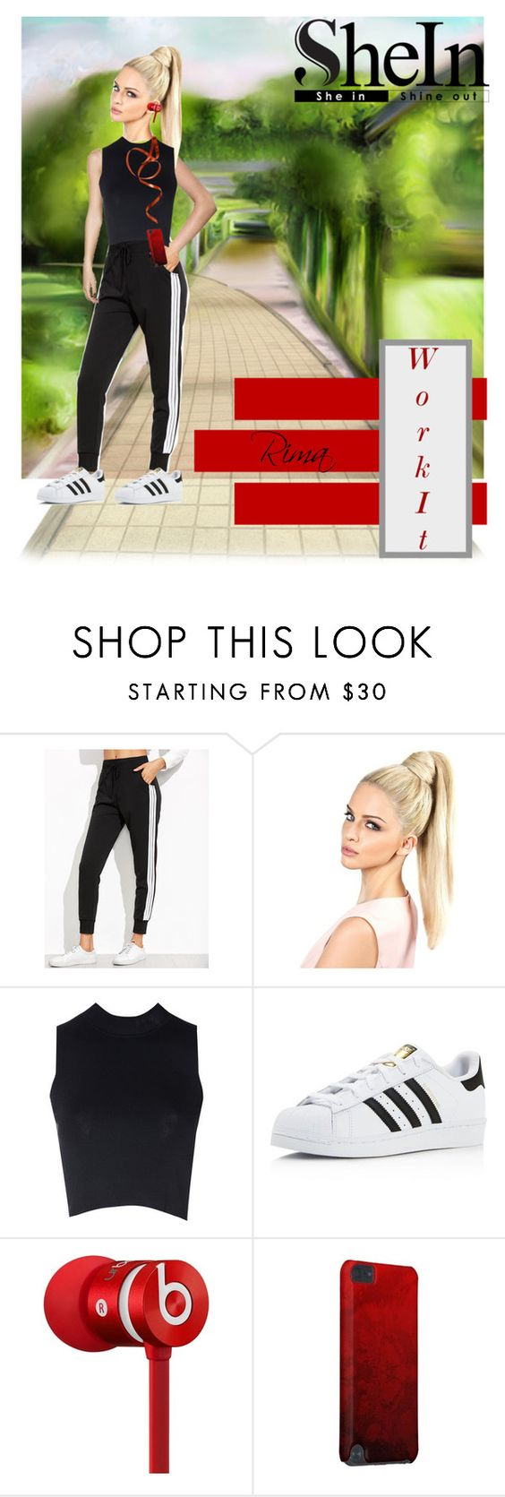 """""""Work out..."""" by rima1205 ❤ liked on Polyvore featuring Glamorous, adidas and Beats by Dr. Dre"""