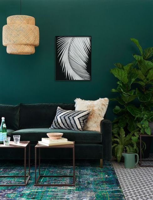 Tropical Fiddle Leaf Plant On Green Wall Living Room Colors Living Room Designs Interior Design Living Room Decoration living room colorful green
