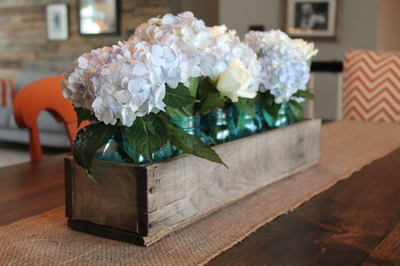 "Rustic Barn Wood 30"" Planter Box (centerpiece, mantle accent, kitchen accessory), Wooden Box Centerpiece, Mantle Box, Wedding Centerpiece"