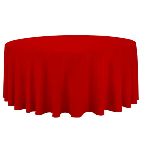 132 in. Round Polyester Tablecloth Red