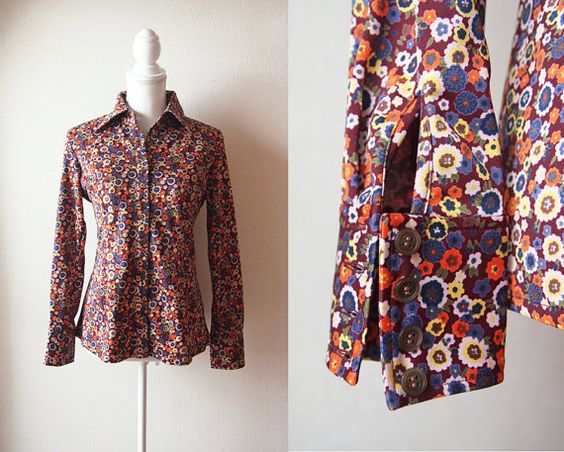 Vintage 1970's Shirt / Orange and Blue by bijoucaillouvintage