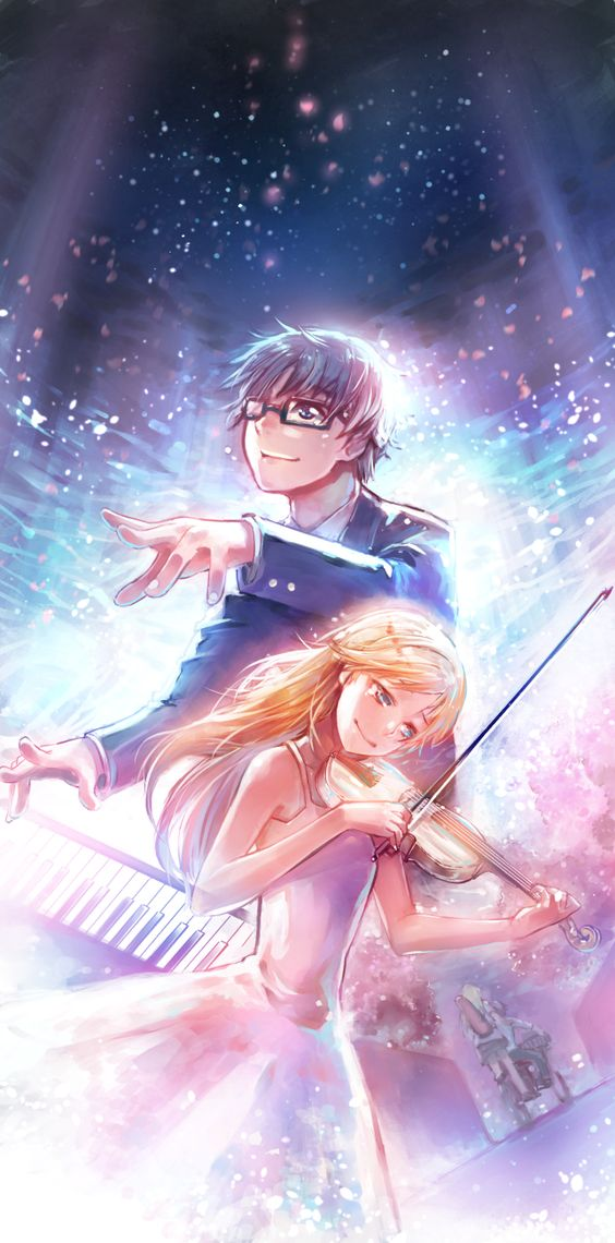 Top 10 Romance Anime || Your Lie In April ~ Kaori and Arima. Read More : http://www.animedecoy.com/2016/02/top10romanceAnime.html: