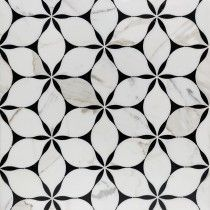 Evangeline Nero Marquina And Calacatta Marble Tile