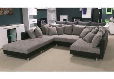 Details About Wohnlandschaft Claudia Xxl Ecksofa Couch Sofa Mit Hocker Schwarz Und Graubeige Furniture Sofa Set Living Room Designs Furniture Design