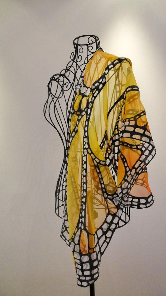 #Silk #Scarves - Hand painted silk scarf - Butterfly wing- butterfly scarves- small scarf http://www.lovelysilks.com