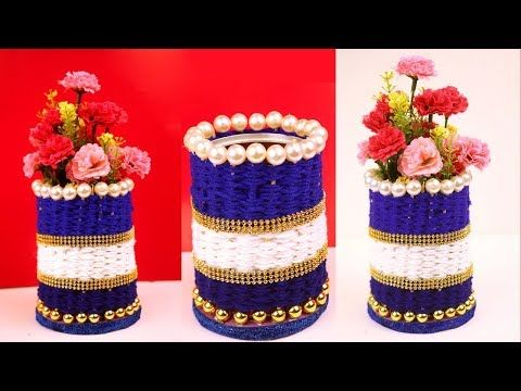 Diy Handmade Flower Vase Craft Idea At Home Best Out Of Waste Ideas New Craft Ideas Youtube Flower Vase Crafts Vase Crafts Diy Vase