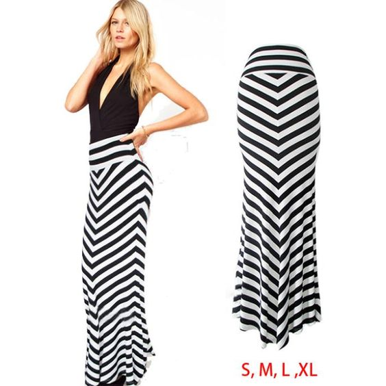 falda larga pegada de rayas , Buscar con Google