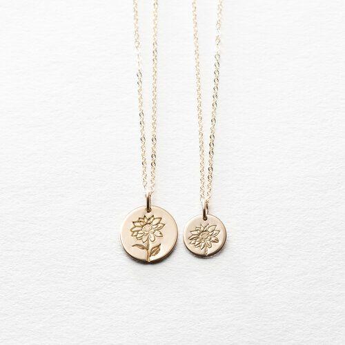Snowdrop Flower Necklace In 2020 Sunflower Necklace Silver Sunflower Necklace Silver Necklace Simple