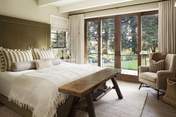 Jennifer Robin Interiors designed this beautiful bedroom in california with a temoayan blanket from l'aviva home.