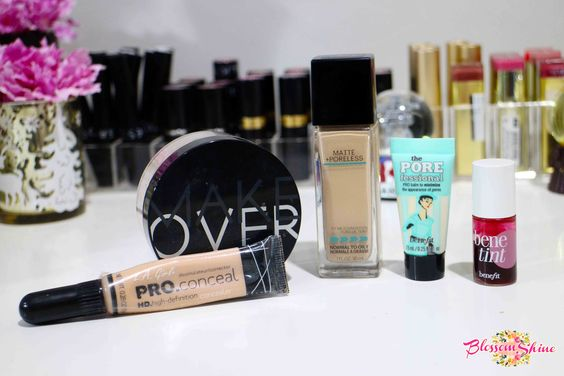The Face makeup Squad: Benefit Porefessional Primer, Maybelline Fit Me! Matte + Poreless Foundation, Make Over Cosmetic Loose Powder, L.A. Girl Pro Concealer dan Benefit Tint Cheek & Lip