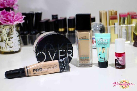 The Face makeup Squad: Benefit Porefessional Primer, Maybelline Fit Me! Matte + Poreless Foundation, Make Over Cosmetic Loose Powder, L.A. Girl Pro Concealer dan Benefit Tint Cheek & Lip