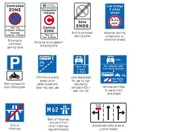 Highway Code Direction Signs