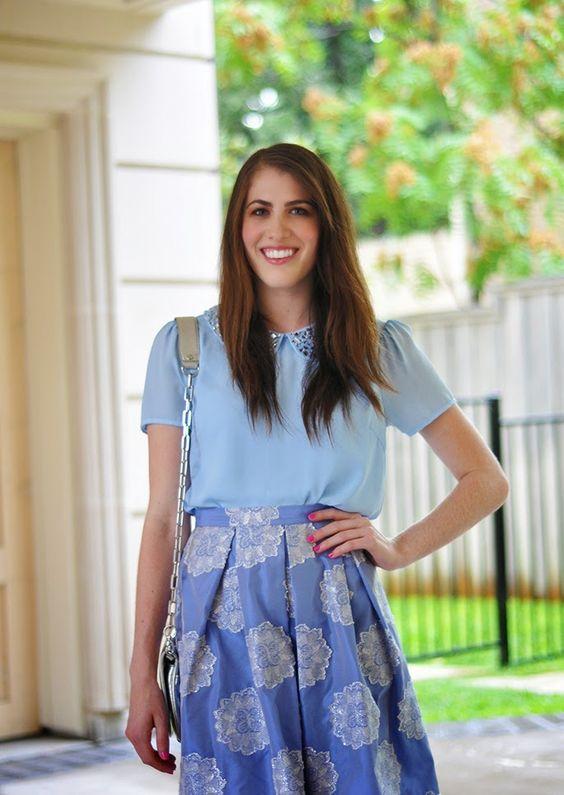 Brooke du jour | Topshop metallic lace jacquard midi skirt