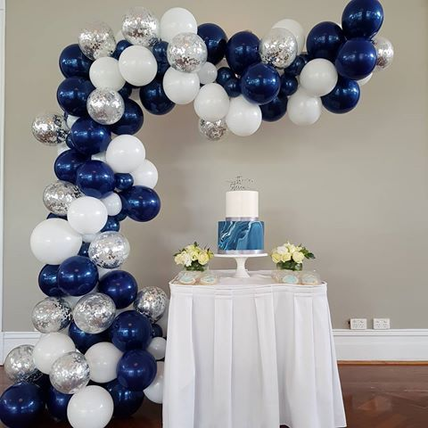 Image Result For Balloon Garland Dark Blue Gold Silver Silver Party Decorations Baby Shower Party Decorations Ballon Garland