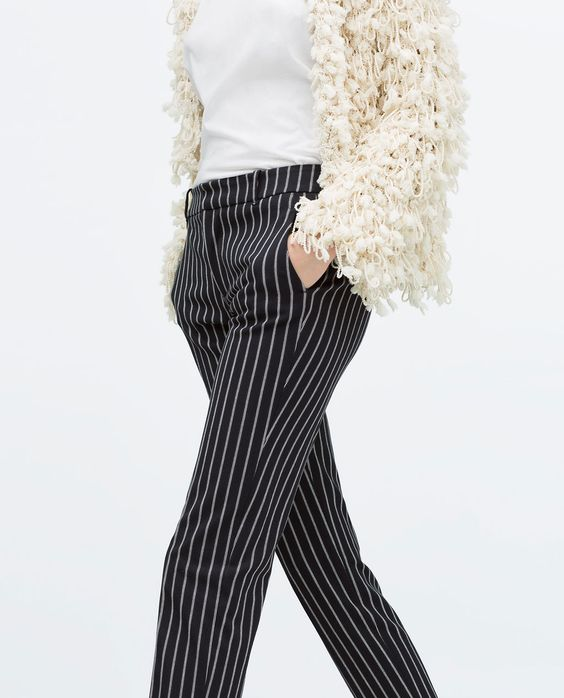 Image 3 of STRIPED NARROW TROUSERS from Zara