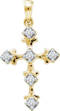 10KT Yellow Gold 0.10CTW DIAMOND CROSS PENDANT