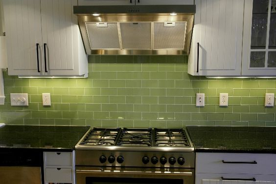 green glass backsplash lights green subway tile kitchens glass tiles