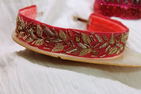 Raspberry pink headband adorned with gold by thejeweledcrown, $25.00