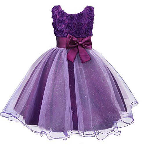 Discoball Girls Flower Dress Formal Wedding Bridesmaid Party Christening Dress Princess Lace Dress for Kids