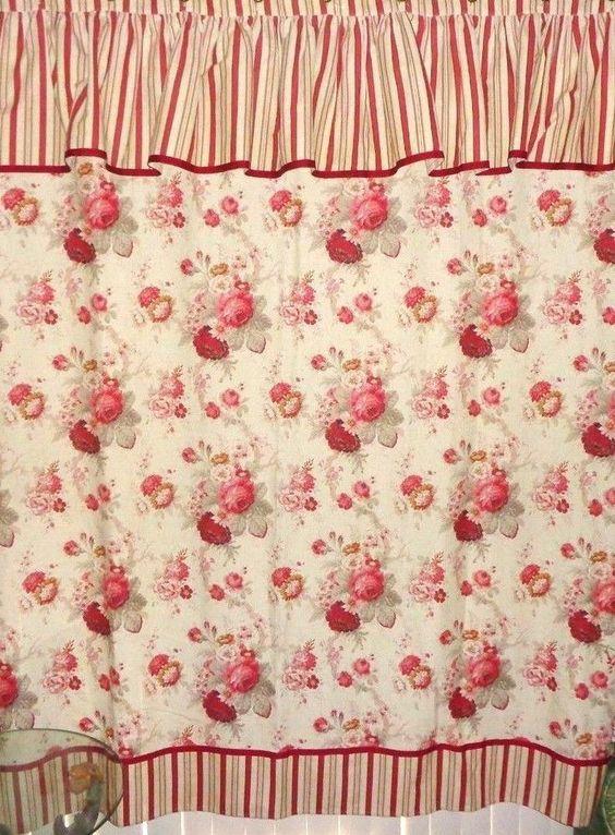 WAVERLY Garden Room Norfolk Rose Shower Curtain Cottage Style Chic ...