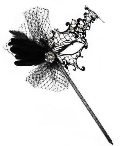 Colette Deluxe Laser-Cut Black Venetian Masquerade Mask on a Stick for Women Success Creations USA http://www.amazon.com/dp/B00EFJ1T8O/ref=cm_sw_r_pi_dp_Pr8Jtb0MGEF31YPR