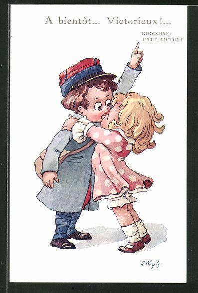 Künstler-AK A. Wuyts: Mädchen küsst einen Soldaten, Kinder Kriegspropaganda 0