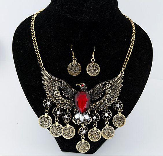 Retro Bronze BOHO Style Coin Necklace Gypsy Eagle With Rhinestone Pendant L-13 #Welldone #Pendant