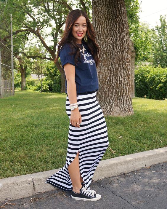 Long Striped Maxi Skirts - Redskirtz