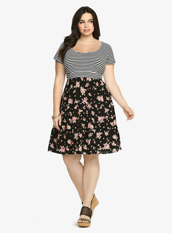 Striped Floral Tiered Dress | Torrid