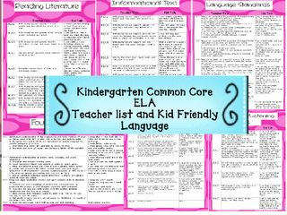 Free Kindergarten Common Core Checklist for ELA with kid friendly language-3 Teacher Chicks