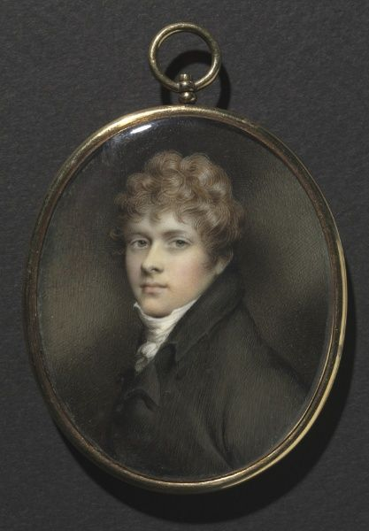 Portrait of a Young Man, c. 1805 - Painter   Andrew Plimer (British, 1763-1837),   watercolor on ivory in original gold frame, Framed - h:8.30 w:7.00 cm (h:3 1/4 w:2 3/4 inches) Unframed - h:7.90 w:6.50 cm (h:3 1/16 w:2 1/2 inches).