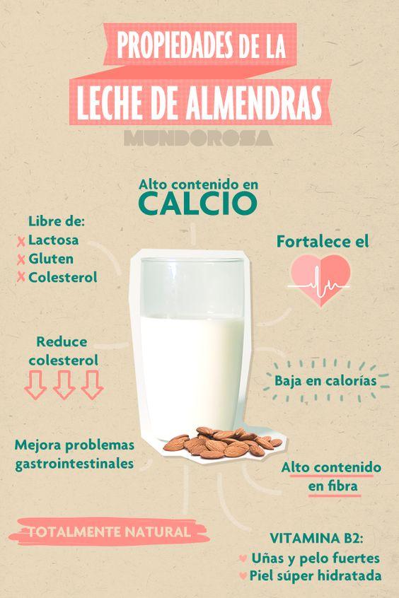 Propiedades de la leche de almendras. Almond milk.