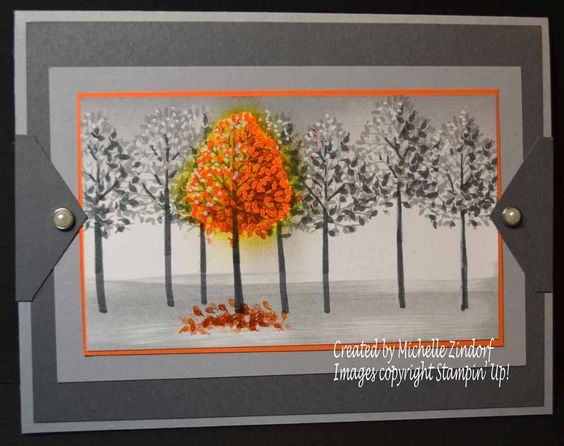 Outstanding Autumn – Stampin' Up! Card created by Michelle Zindorf using the Totally Trees Stamp Set. :):