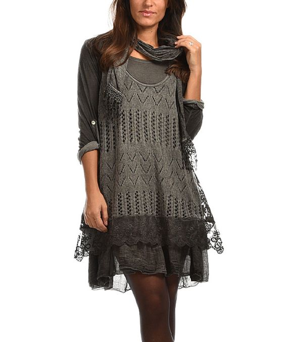 Another great find on #zulily! Maille Girl Gray Lace-Trim Layered Dress & Scarf by Maille Girl #zulilyfinds