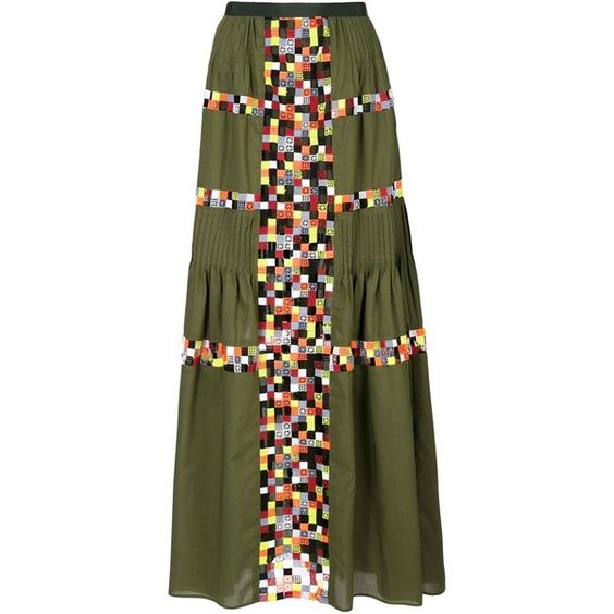Sacai Military Green Embroidered Long Skirt ($750) ❤ liked on Polyvore featuring skirts, green, floor length skirts, pleated skirt, green pleated maxi skirt, army green skirt and long skirts