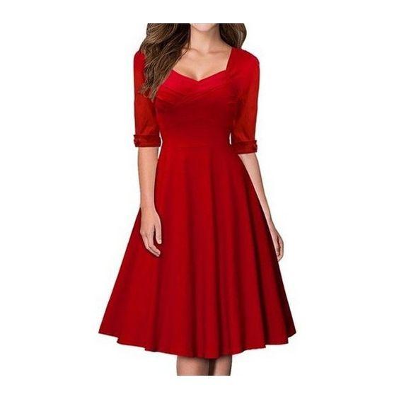 Vintage Half Sleeve Knee Length Dress (200 SEK) ❤ liked on ...